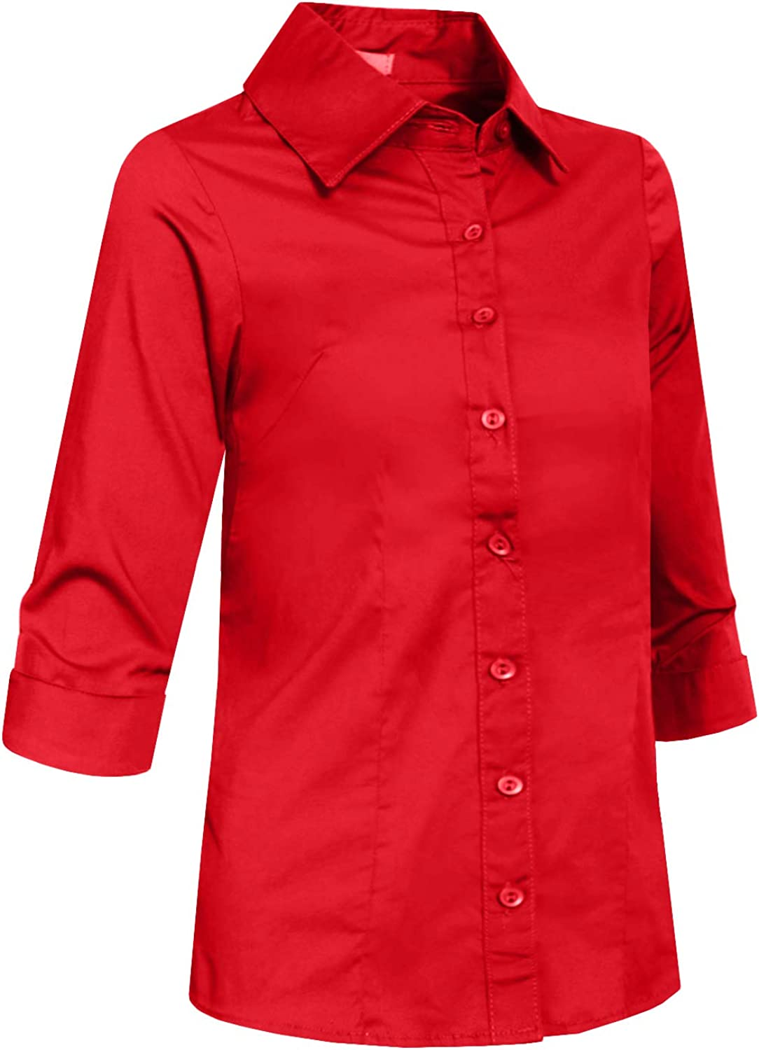 J. LOVNY Girl's Basic Casual Long Sleeve Roll Up Button Down Blouse Shirts: Clothing