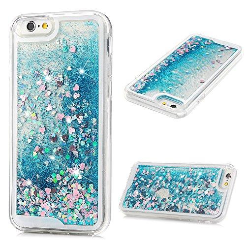 Glitter Heart Blue (iPhone 6S Case, iPhone 6 Case (4.7