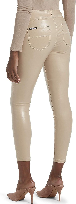 Kylie Womens Front Yoke Coated Twill Cropped Midi Legging Kendall