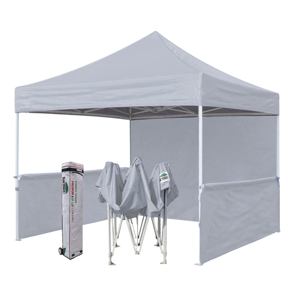 Eurmax Premium 10x10 Trade Show Tent Event Canopy Market Stall Canopy Booth Outdoor Canopy Bonus: Four (4) Weight Bags +Roller Bag (Grey)