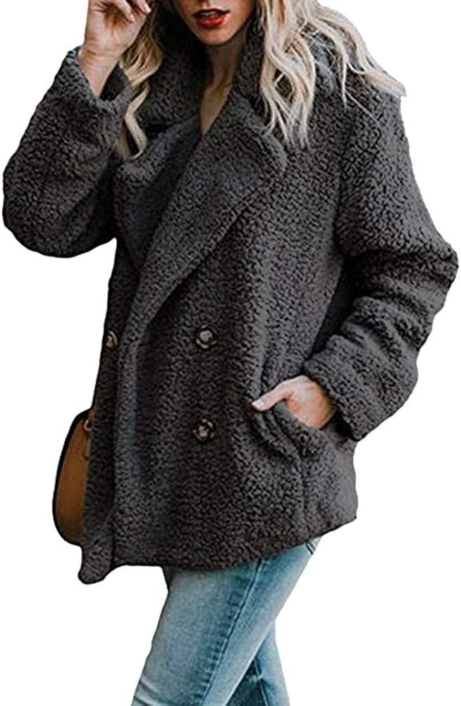 Outwear for Women Coat,Women/'s Winter Fluffy Fuzzy Butons Open Front Cardigan Jacket Coat Outwear with Pockets