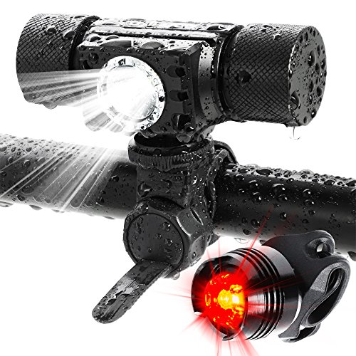 ADAMITA USB Rechargeable LED Bike Light Front & Back,500 Lumens Waterproof Bicycle Headlight,5 Lighting Modes Free Tail Light Bike Lights Set Easy to Install Safety