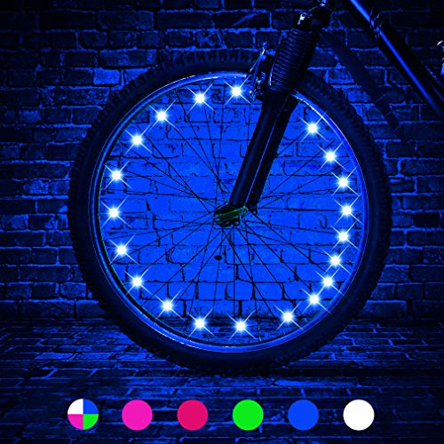 TINANA LED Bike Wheel Lights Ultra Bright Waterproof Bicycle Spoke Lights Cycling Decoration Safety Warning Tire Strip Light for Kids Adults Night Riding -1Pack (Blue)