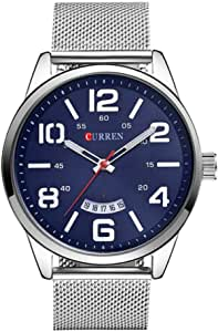 Curren 8236 Stainless Steel Strap Quartz Men Watch Casual Analog Display Watch With Date - Blue
