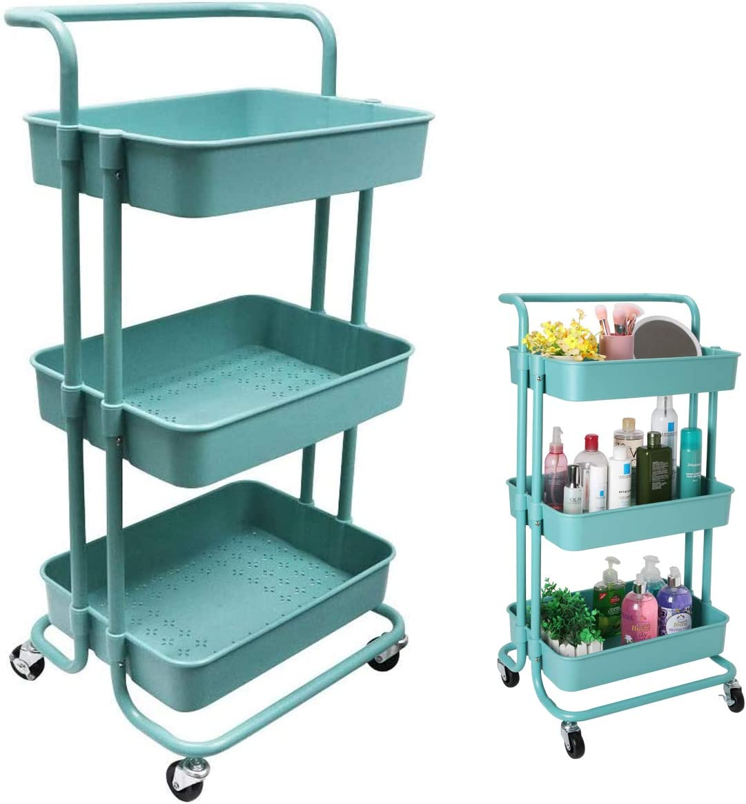 3-Tier Rolling Utility Cart Multifunction Storage Trolley Kitchen Storage Organizer Carts Shelves with Wheels, StainSteel Handle and ABS Storage Basket, for Office Bathroom Kitchen Organization (Teal)