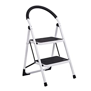 Sturdy 2 Step Ladder Folding Step Stool Heavy Duty Metal Ladders with Handle, 330 lbs Capacity