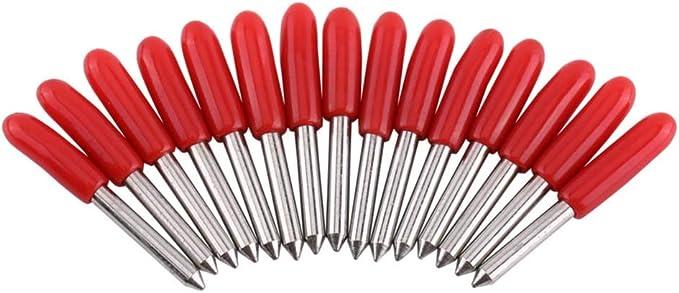 FMN-TOOLS, 15pcs / Set 45 Grado cortante de la Cuchilla de trazador for Vinilo Cuchilla V Forma de la Herramienta Router carburo de PCB de Grabado bits CNC (tamaño : 15pcs/Set 45