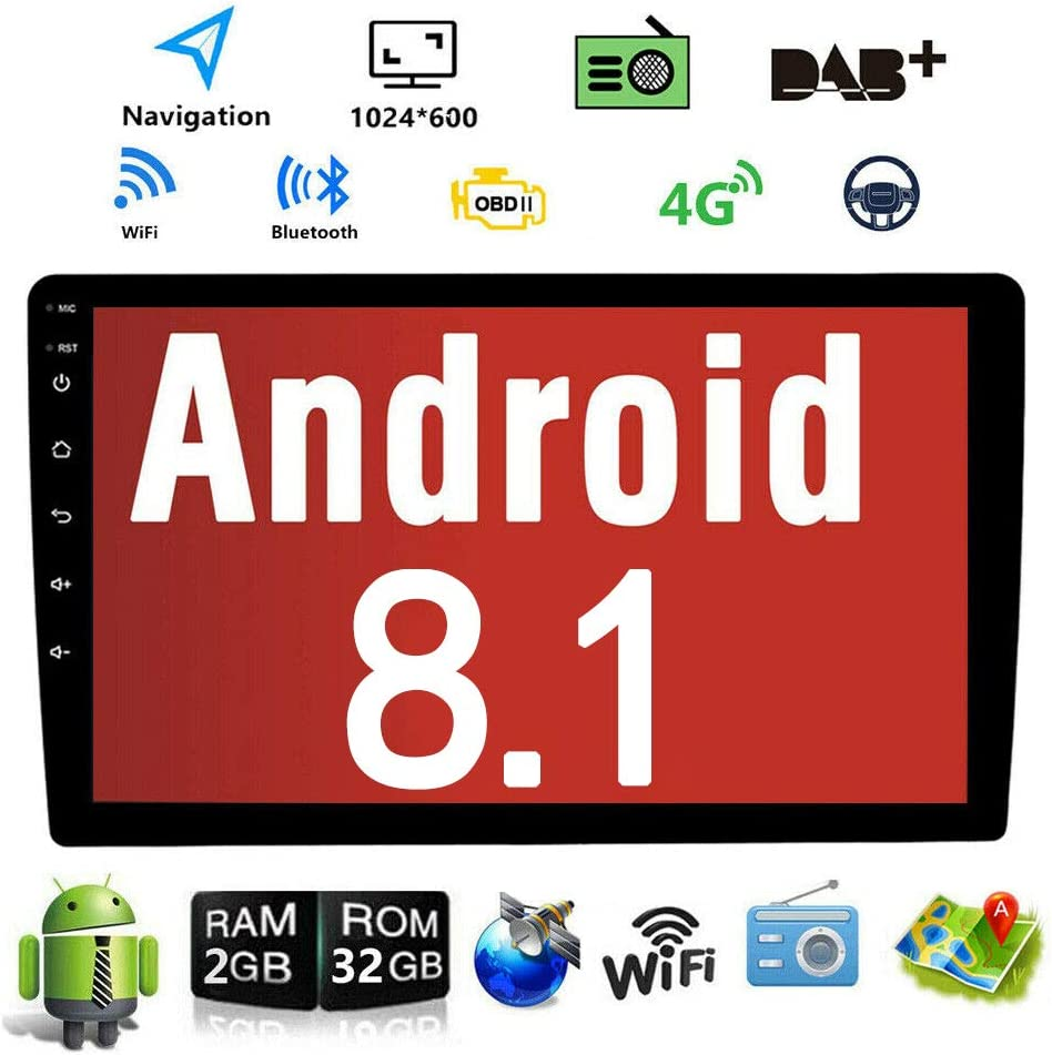 Android 8.1 10.1 Inch Touch Screen 2 Din Car Multimedia Radio GPS Navigation in-Dash Car Stereo MP5 Player Autoradio with WiFi Bluetooth USB OBD (9001C 1G RAM+16G ROM)