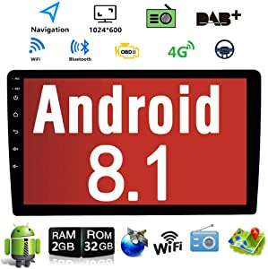 Android 8.1 10.1 Inch Touch Screen 2 Din Car Multimedia Radio GPS Navigation in-Dash Car Stereo MP5 Player Autoradio with WiFi Bluetooth USB OBD (9001C 1G RAM+32G ROM)