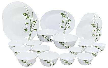 LaOpala Foliage Dinner Set, 27-Pieces, White/Green