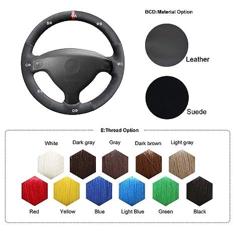 Amazon.com: OUYUE Black Suede DIY Car Steering Wheel Covers ...