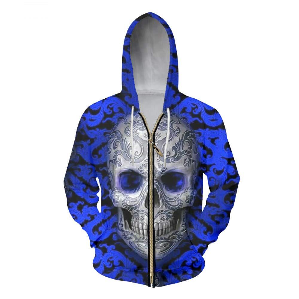 Crane de broderie 5XL Ai Ya-weiyi mode hauts Hommes sweat à capuches Zipper Broderie Impression 3D Skull Sweat-Shirts Homme Pulls Vestes à Capuchon Style Punk 6XL