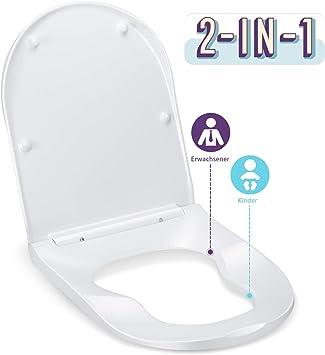WC-Sitz Toilettensitz Klodeckel weiß Absenkautomatik D-Form Duroplast Klobrille❤