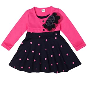 LI'L BLACK DRESS® High Quality New 1-6 Years Child Clothing Children Clothes Corsage Girl Dress Dresses Baby Princess Dress (2-3Y, pink)