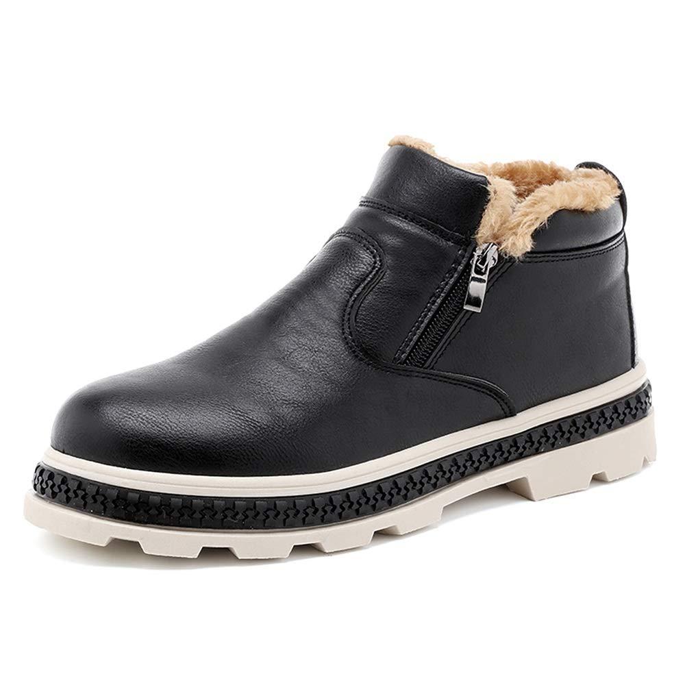 Herren Modische Schnee Stiefel Lässig Bequem Reißverschluss Winter Faux Fleece Inside Home Schuhe (Farbe   Schwarz, Größe   40 EU)