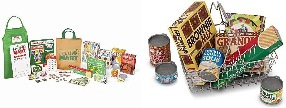 Melissa & Doug Grocery Store Companion Set & Grocery Basket with Play Food