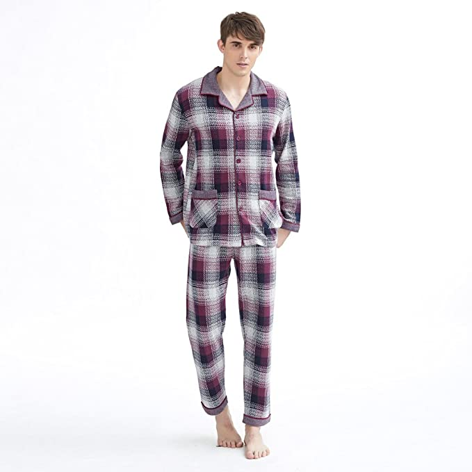 de Manga Larga Algodón los Hombres Pijama Set/Paquete de Servicio a Domicilio Frente Abotonado