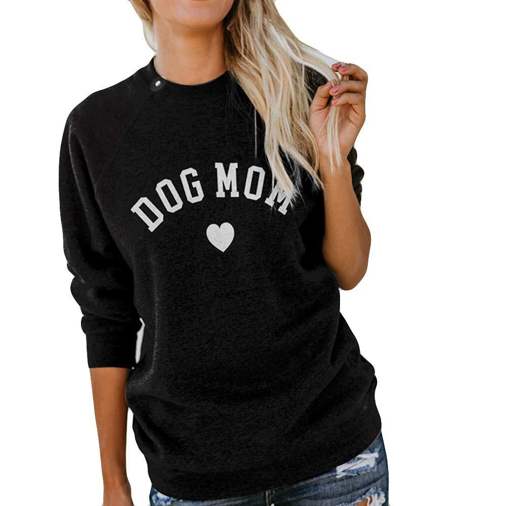 Yvelands Damen Tops Brief-Druck-Mode-langärmlige Strickjacke Splicing Sweatshirt Bluse Tops