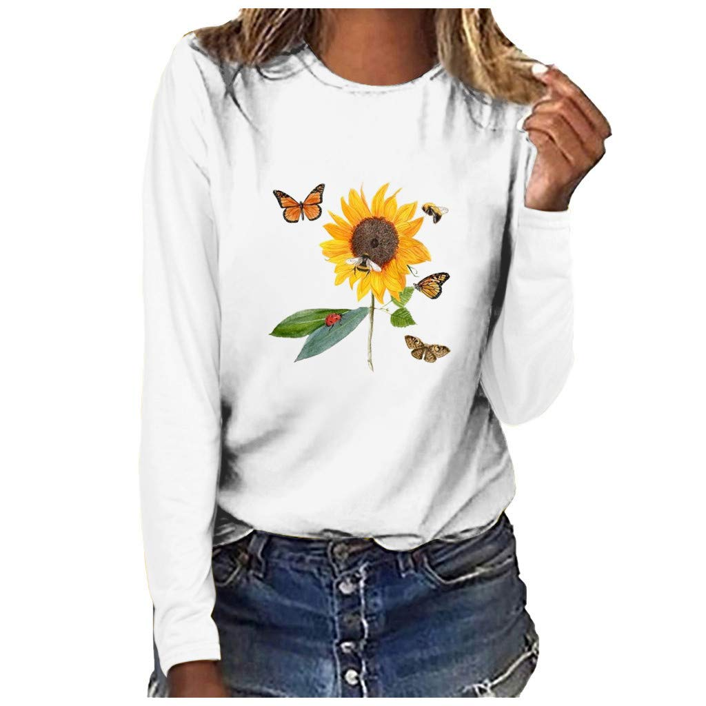 ♫Loosebee♫ Women Fashion Plus Size Pullover Tops Sunflower Printed Round Neck Long Sleeved T-Shirt Autumn Blouse White by ♫Loosebee♫