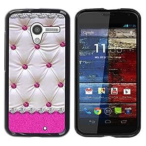 ZONECELL Negro Borde Trasera Funda Imagen Carcasa Diseño Tapa Cover Skin Case para Motorola Moto X 1 1st GEN I XT1058 XT1053 XT1052 XT1056 XT1060 XT1055 - rosa de cuero patrón de diamante del enrejado blanco
