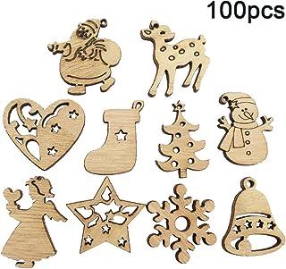 Recoproqfje Wood Chip di Natale con Babbo Pupazzo di Neve Modello Ciondolo a Forma di Albero di Natale, Decorazione 50pcs