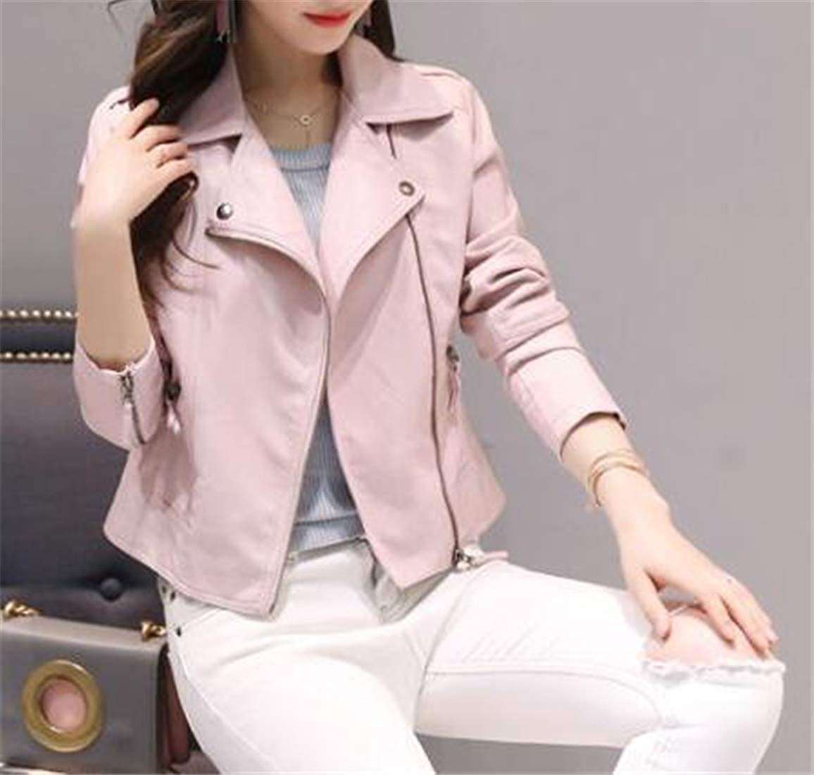 C/&H Women Motorcycle Coat Casual Slim Fit Faux Leather Short Jackets