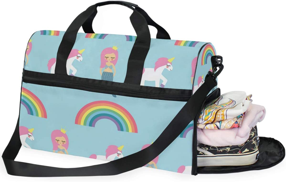 Travel Duffels Mermaids Unicorns Duffle Bag Luggage Sports Gym for Women /& Men