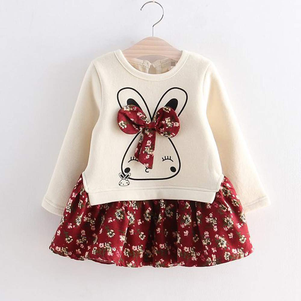 7e53dad400f Amazon.com  Iuhan Baby Shirt Dress for 1-6Years Girls - Toddler Kids Baby  Girl Cartoon Rabbit Bunny Floral Princess Party Dress Clothes (3-4 Years