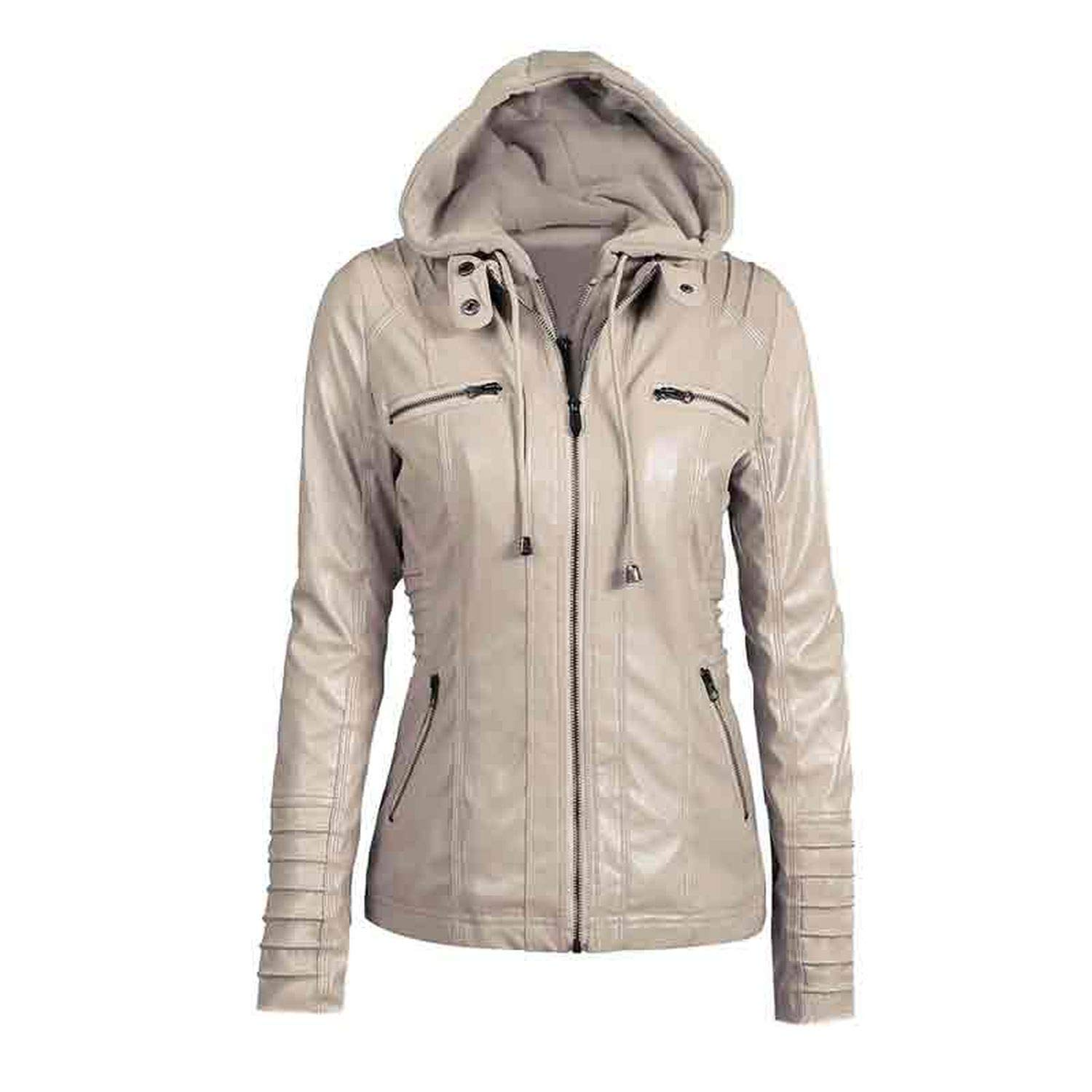 Light Apricot Be fearless Winter Slim Zipper Hooded Coat Female Warm Casual Outerwear Solid 2XL Fall Leather Jacket Coats