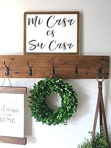 CELYCASY Mi casa ES su casa Wood Sign Wall Decor Farmhouse Decor Rustic Decor Fixer Upper