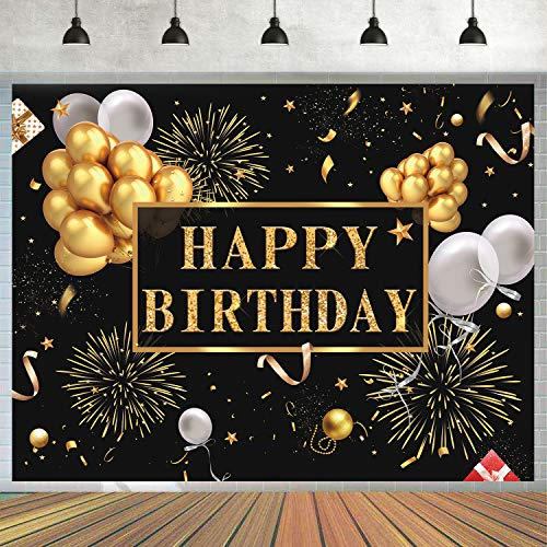 Happy Bday Banners (7x5ft Happy Birthday Backdrop Golden Balloons Stars Fireworks Party Decoration, Black Gold Sign Poster Photo Booth Backdrop Background Banner for Men Women 30th 40th 50th 60th 70th 80th Bday Party)