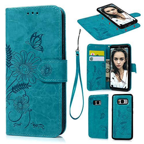 SUPWALL S8 Plus Case, Wallet Case PU Leather Oil Wax Embossed Sunflower Folio Cover Detachable Magnetic Wallet with Card Slots Cash Compartment Case Made for Samsung Galaxy S8 Plus Blue