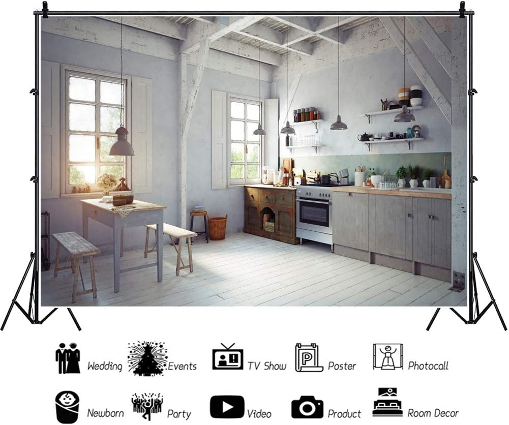 YEELE Kitchen Interior Backdrop for Photography 10x8ft Kitchen with Old Furnitures Background House Home Design Room Decoration Kids Adults Portrait Photo Studio Props Wallpaper