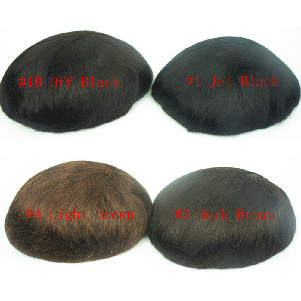Human Hair Toupee for Men, N.L.W. European Human Hair Pieces for Men with 10'' x 8'' Super Thin French Lace,#1B Off Black by N.L.W.