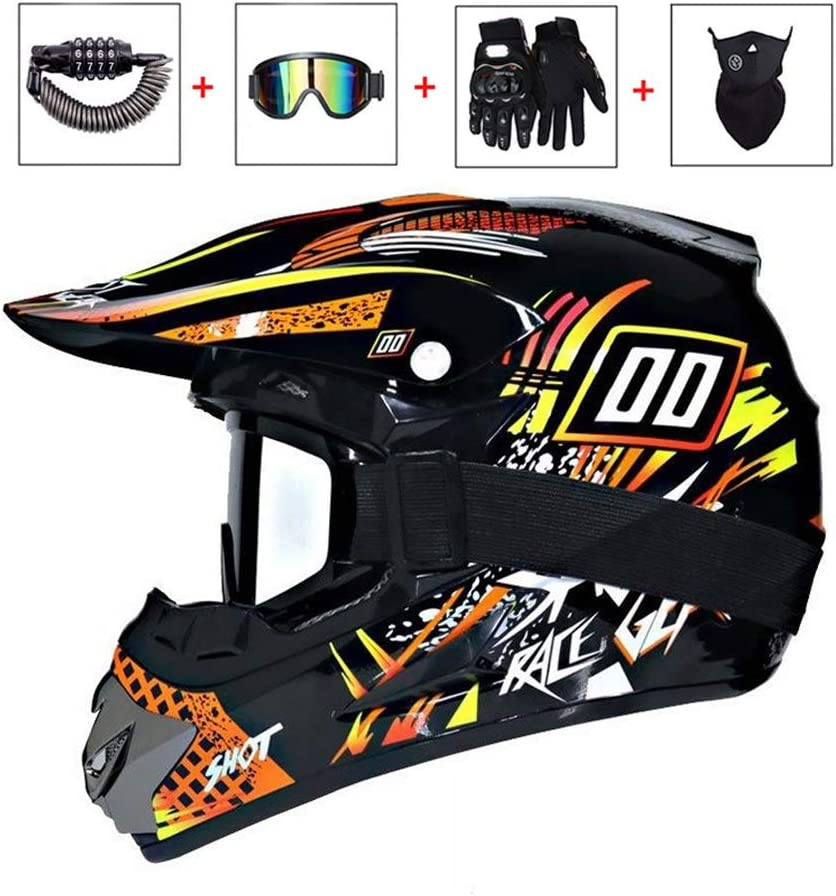 Motorradhelm Damen M/änner Motorr/äder Sports Downhill Enduro-Helm ATV MTB BMX Quad Motorrad Off-Road-Helm Motocross-Helm Set mit Brille//Maske//Handschuhe//Schloss LEENY Herren Crosshelm