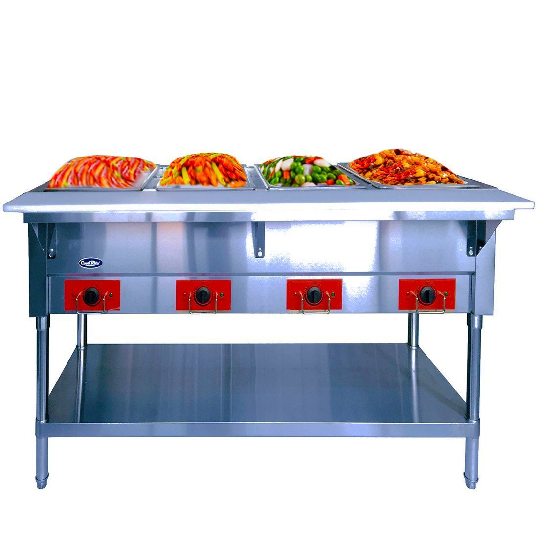 Commercial Electric Steam Table - ATOSA 240V Stainless Steel Food Warmer with Undershelf, Hot Food Buffet Table for Restaurant Kitchen - 4 Open Well