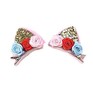 Cute Hair Clips Cat Ears Bunny Barrettes Rainbow Flowers Hairpins
