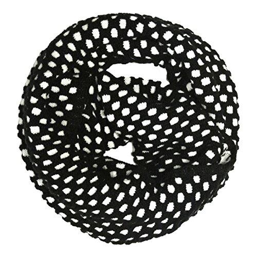 Wrapables Dottie Infinity Acrylic Knit Winter Scarf Circle Scarf, Black/White