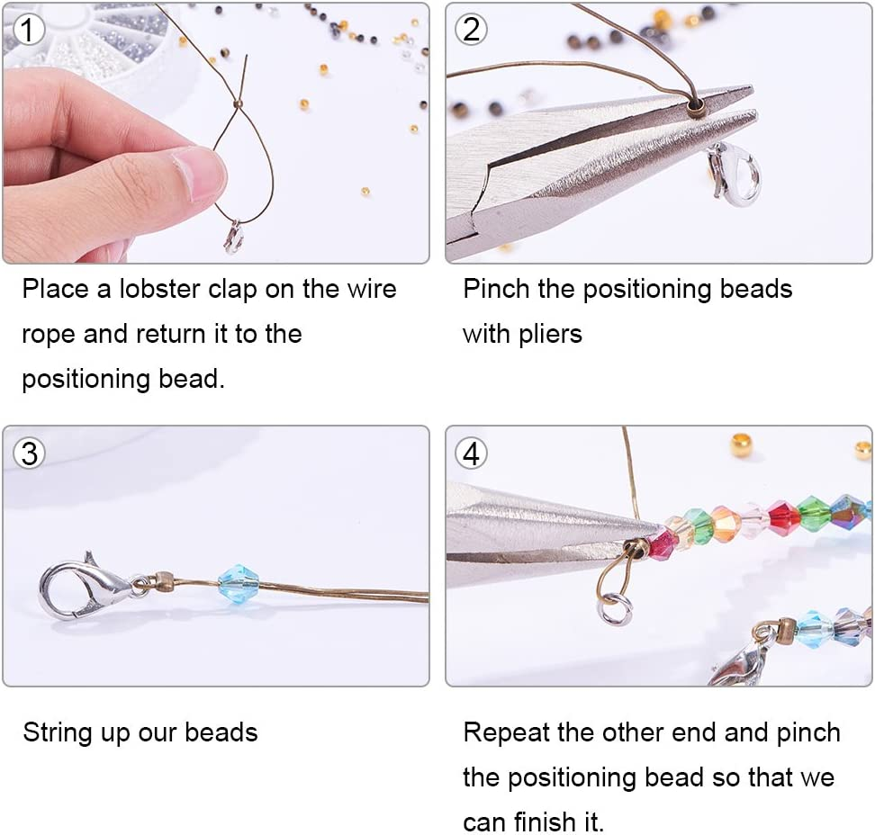 1440pcs 4 Couleurs Perles /à Sertir en Laiton Perle a Ecraser Rond pour la Fabrication de Bijoux PandaHall Elite