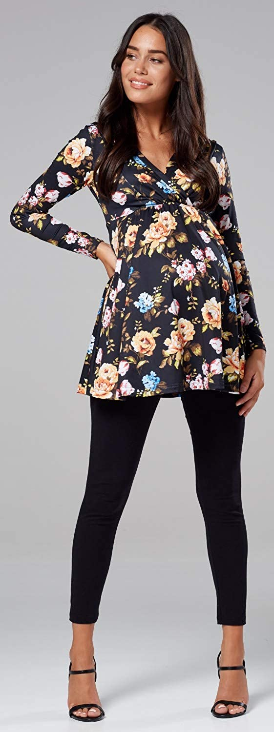 Chelsea Clark Womens Maternity Flower Pattern Empire Waist Top V-Neck 560p