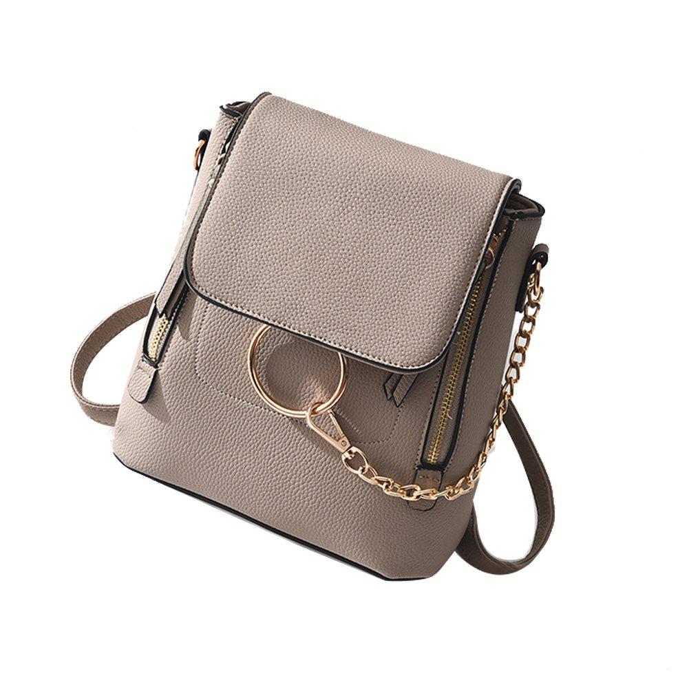 SCENTW Fashion Women Crossbody Backpack Purse Small Pu Leather Shoulder Bags Ladies Cute Chain Satchel Bag (Khaki)