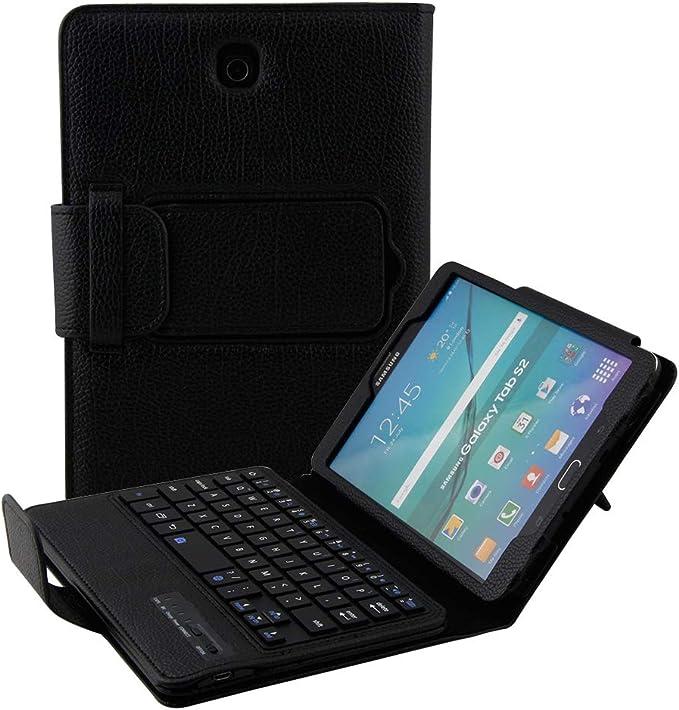 Funda con Teclado Inteligente para Samsung Galaxy Tab S2 8.0, Galaxy SM-T710, Funda con Teclado Kickstand de Piel magnética Resistente con Teclado ...