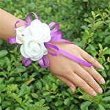 USIX 2pc Pack-Handmade Artificial PE Flower Wrist Corsage with Calla Lily and Satin Ribbons for Wedding Party Prom Homecoming Bride Bridesmaid Maid of Honor(Calla Lily Purple)