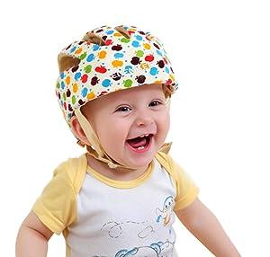 3ae45533f82 #2 ELENKER Baby Children Infant Adjustable Safety Helmet Headguard  Protective Harnesses Cap Colorful