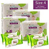 Happy Little Camper Ultra Absorbent Hypoallergenic Natural Diapers, Size 4 (22-37 lbs), 160 Count, Non-GMO Cotton Wipes, 288 Count, Monthly Supply Combo Bulk Pack
