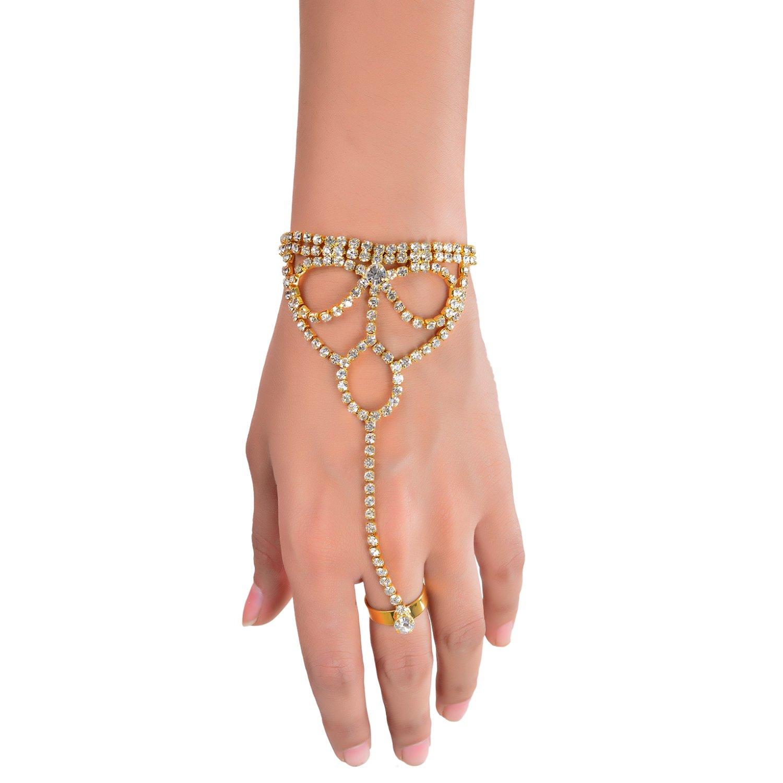 Aaishwarya Gold-Plated Rhinestones Embedded Ring Bracelet for Women (B01NCO3KEK) Amazon Price History, Amazon Price Tracker