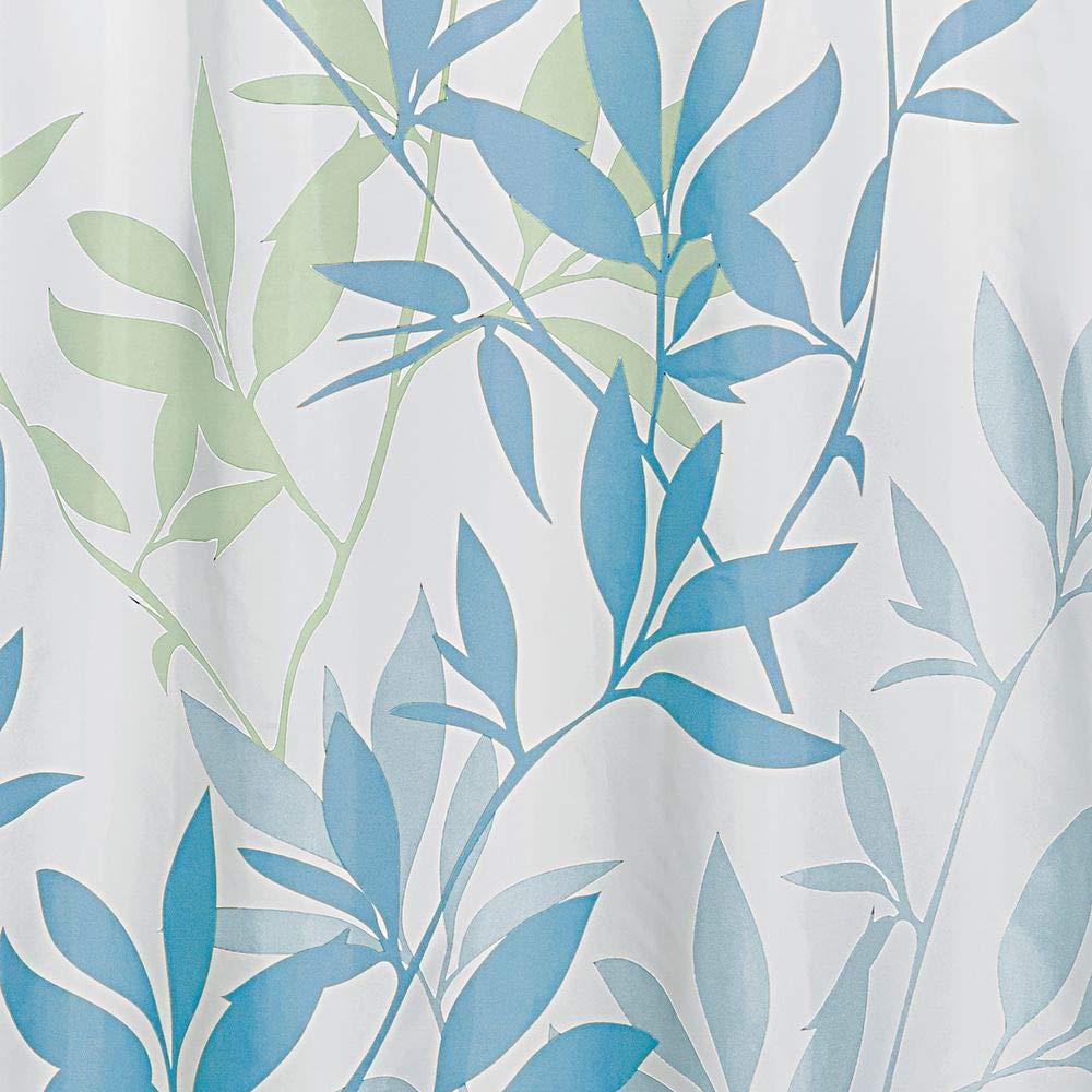 rideau baignoire design 183,0 cm x 183,0 cm en polyester rideau bain chic avec motif de feuilles InterDesign Leaves rideau de douche bleu//vert