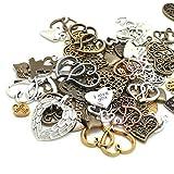 100 Gram (60-70pcs) Mixed Metal Alloys Heart-shaped Pendant Charms Bracelet Necklace DIY Jewelry MakingAccessory