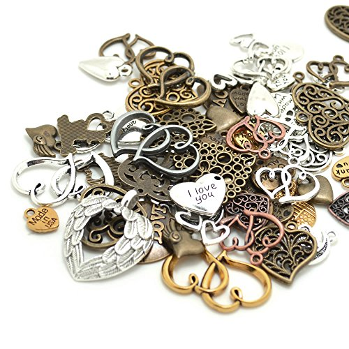 100 Gram (60-70pcs) Mixed Metal Alloys Heart-shaped Pendant Charms Bracelet Necklace DIY Jewelry MakingAccessory ()