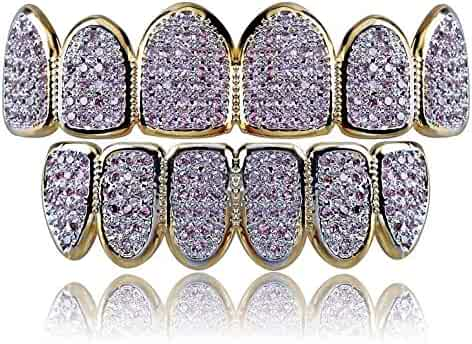 Jin'ao JINAO 18k Gold Plated All Iced Out Pink Rhinestone Gold Grillz set for Women with EXTRA Molding Bars